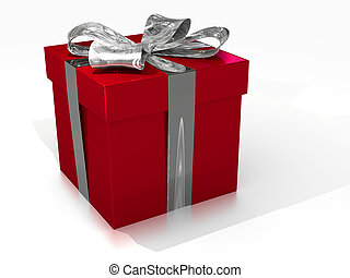 Red Gift Box with silver ribbon on white Background
