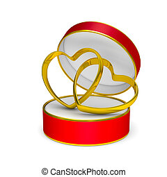 Red gift box with two wedding rings. Isolated 3D illustration