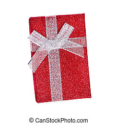 Red gift box with white ribbon an isolated on white background