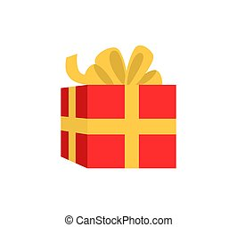 Red Gift Box Wrapped Ribbon with Big Bow Vector