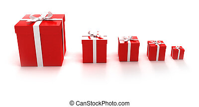 Red gift boxes in different sizes