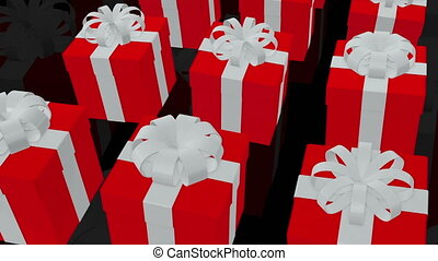 Red Gift boxes on a black backgroun