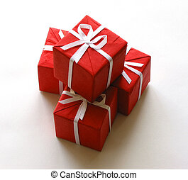 Red gift boxes on white background