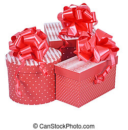 Red gift boxes with ribbon bow isolated on white