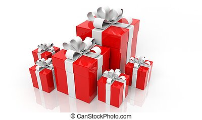 Red gift boxes with white ribbons in various sizes isolated on white background