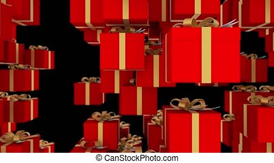 Red gift boxes wrapped with gold ribbons are falling on black background. Loopable animation for christmas, holidays and promo events. 4K 3d render. Loop