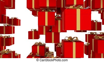Red gift boxes wrapped with gold ribbons are falling on white background. Loopable animation for christmas, holidays and promo events. 4K 3d render. Loop