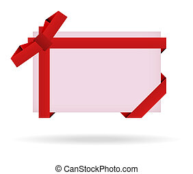 red gift card with ribbon, bow and shadow on white background