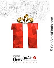 Red gift decoration for christmas greeting card