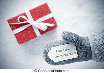 Red Gift, Glove, Valentinstag Means Happy Valentines Day,...