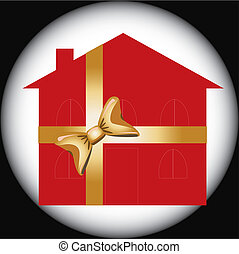 Gift house for advertising usage, vector illustration