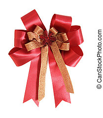 Red gift ribbon and bow on white background with clipping path