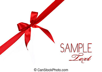 Red Gift Ribbon Bow in Horizontal Placement Over White ...