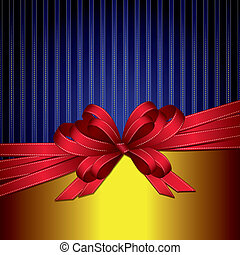 red gift ribbon bow on gold and bl