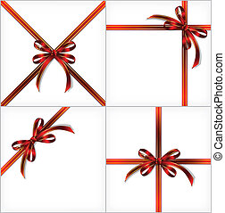 Red Gift Ribbon. Vector set backgrounds
