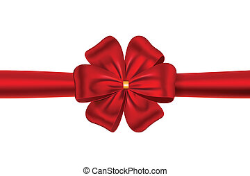 Red gift ribbon with bow
