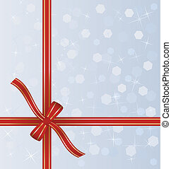 red gift ribbon wrapped around decorative winter background