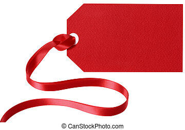 Red gift tag with ribbon