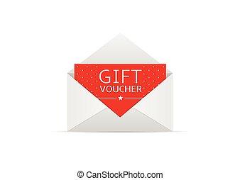 Gift voucher card - Red Gift voucher card in white envelope