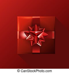 Red gift with bow on red background. Birthday template.