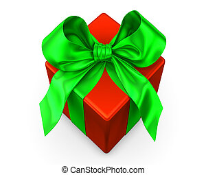 red gift with green ribbon