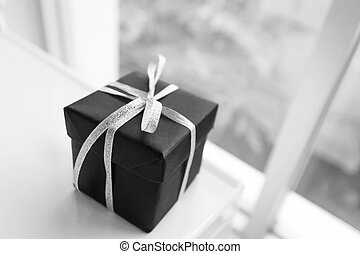 Red giftbox black and white