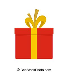 Red giftbox icon, flat style