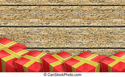 Red gifts on the background of old boards