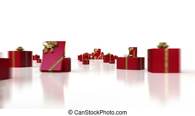 Red gifts on white background.