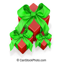 red gifts with green ribbon