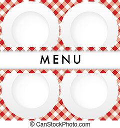 Red Gingham Menu Card Cover - Menu Card - White Plates on...