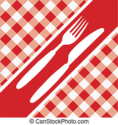 Red Gingham Menu Card - Menu Card - Red and White Gingham...