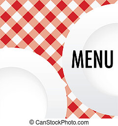 Red Gingham Menu Card - Menu Card - White Plates on Red and...