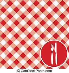 Red Ginham Menu Card / Invitation - Menu Card / Red and...