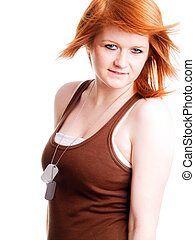 red girl with dogtags over white background