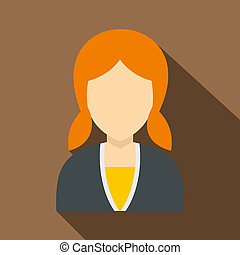 Red girl with hairstyle icon, flat style