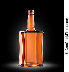 Red glass bottle for cognac or whisky