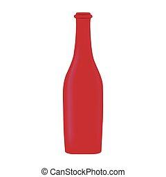 red glass bottle wine design