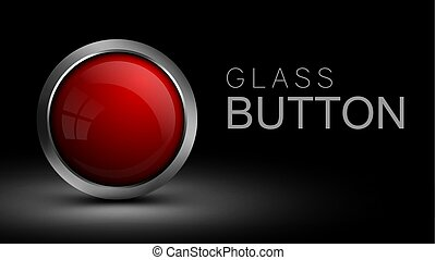 Red glass button.