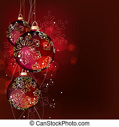 Red glass Christmas balls on dark background