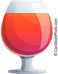 Red glass cocktail icon, cartoon style
