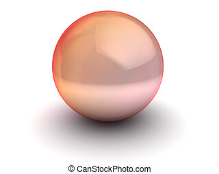 red glass shpere - 3d illustration of red glass sphere over...