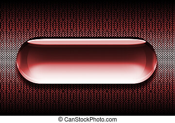Red Glass Web Button - Glass Button sits atop a metal grill...