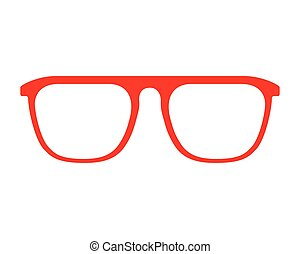 red glasses fashion frame isolated design