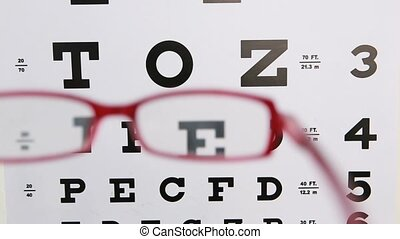 Red glasses held up to read eye test for optician