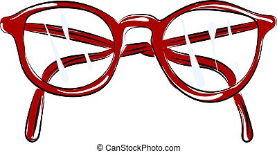 Red glasses, illustration, vector on white background.