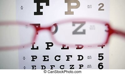 Red glasses trying to focus on reading test for optician