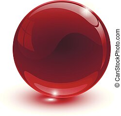 Red glassy ball on white background