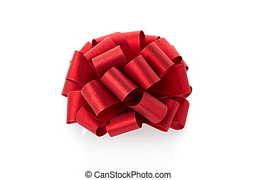 Red glitter bow on white background , clipping path included