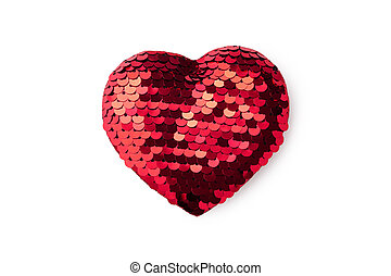 Red glitter heart isolated on white background